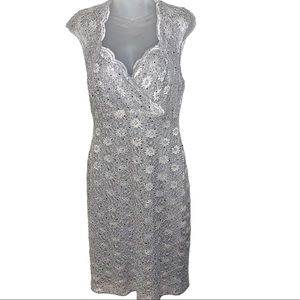 Connected Apparel Silver Lace Cocktail Dress